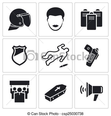 450x470 Protest Against The Police Icons. Vector Isolated Flat Icons