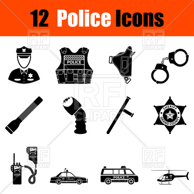 400x400 Set Of Police Icons Vector Image Vector Artwork Of Icons And