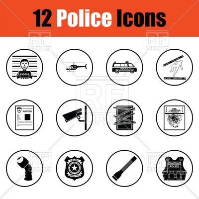 400x400 Set Of Police Icons Vector Image Vector Artwork Of Signs