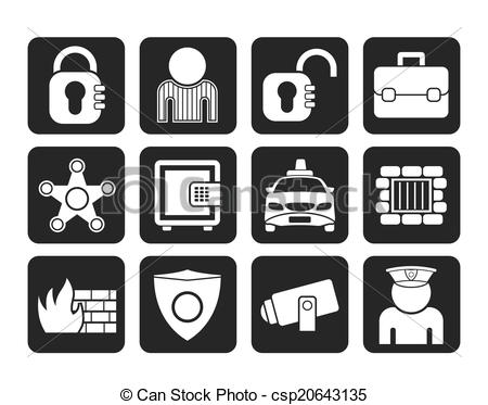 450x373 Silhouette Social Security And Police Icons
