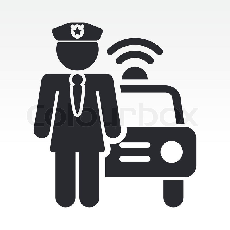 800x800 Vector Illustration Of Single Isolated Police Girl Icon Stock