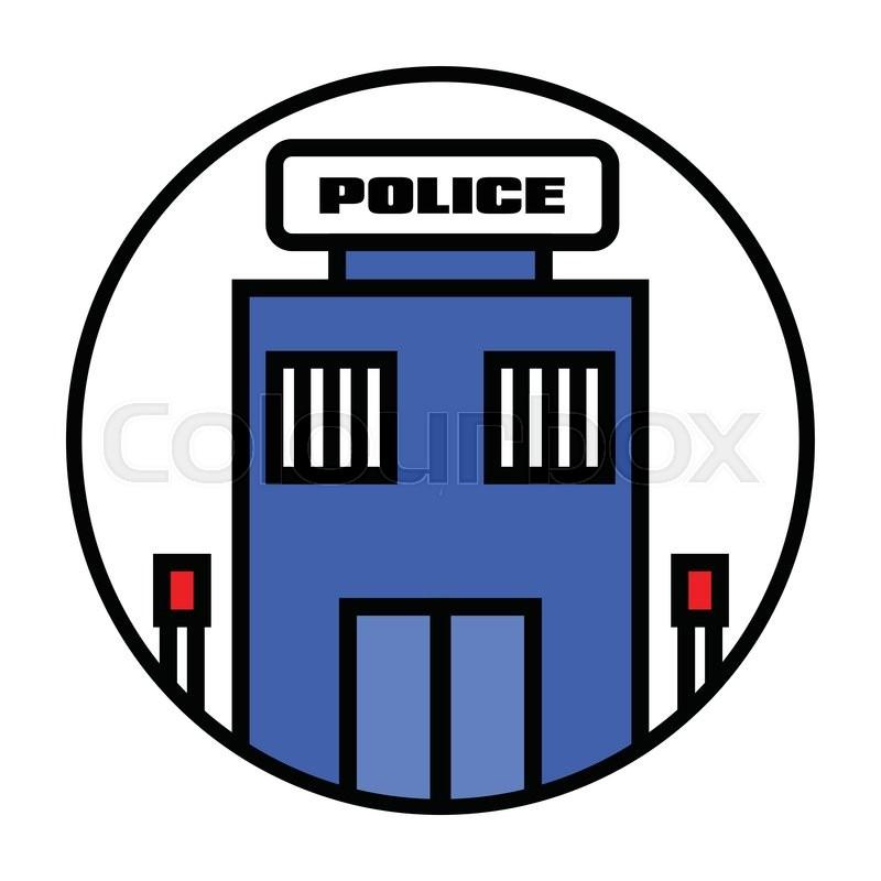800x800 Flat Police Station Icon Vector Stock Vector Colourbox