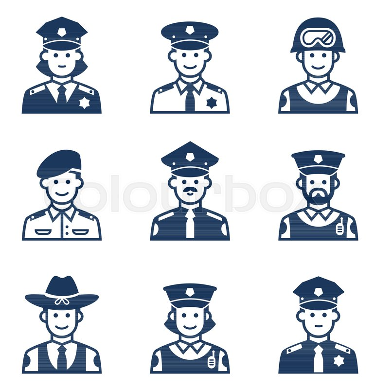 769x800 People Occupations Icons. Police Icon. Avatars Police Stock