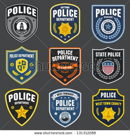 450x470 Set Of Police Law Enforcement Badges And Patches