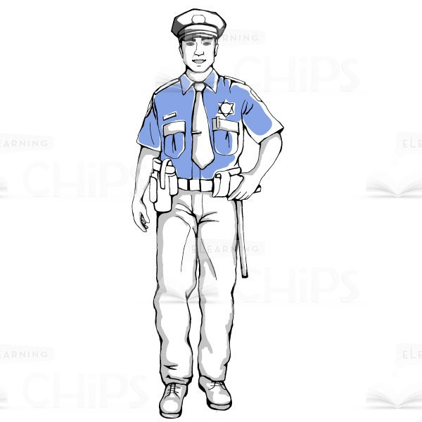 600x600 Hand Drawn Police Officer Vector Character