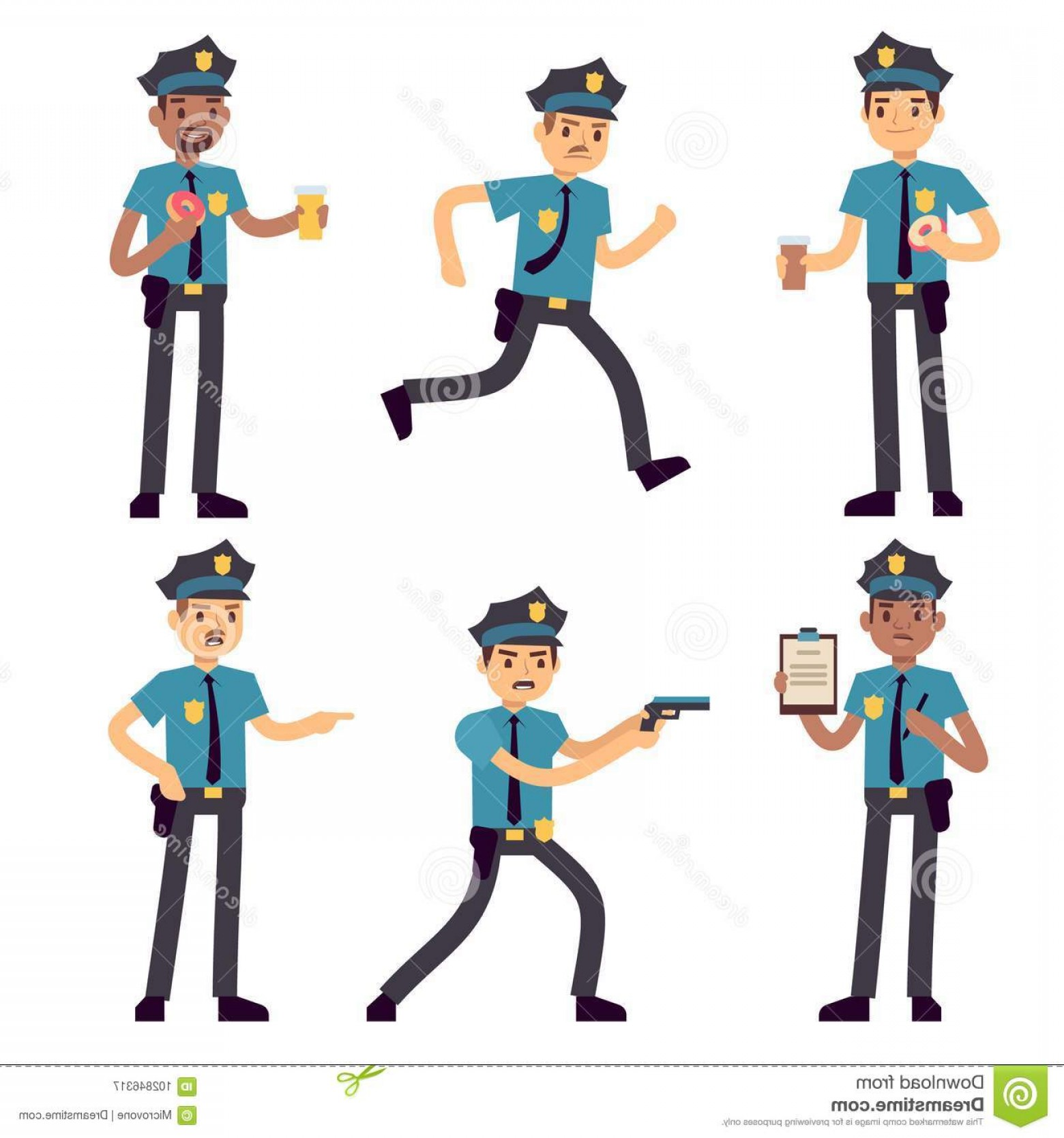 1560x1668 Officer Policeman Vector Cartoon Characters Isolated Patrol Cops