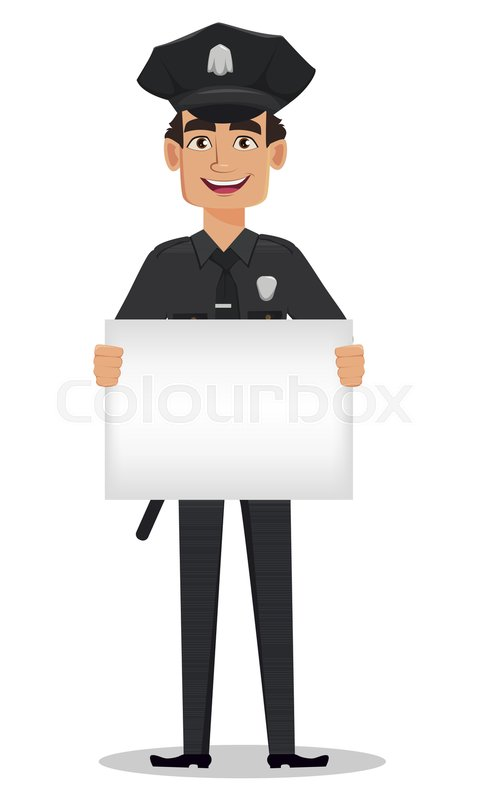 479x800 Police Officer, Policeman With A Blank Placard. Smiling Cartoon