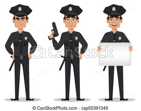 450x354 Police Officer, Policeman. Set Of Cartoon Character Cop Angry