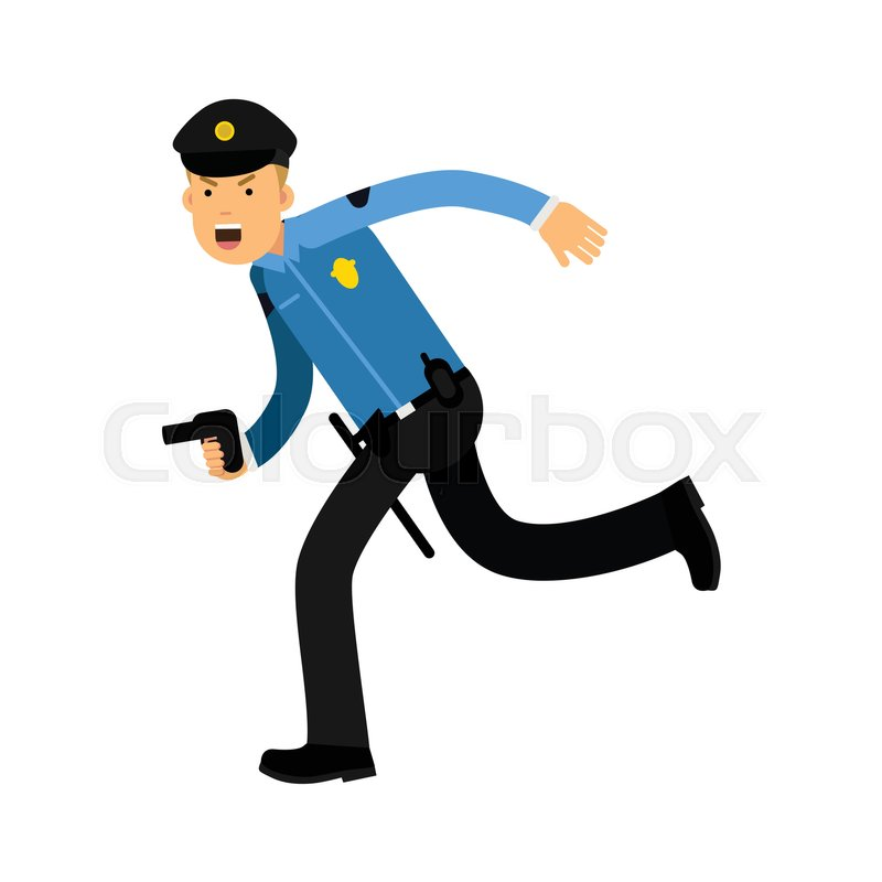800x800 Police Officer Character In A Blue Uniform Running With Gun Vector