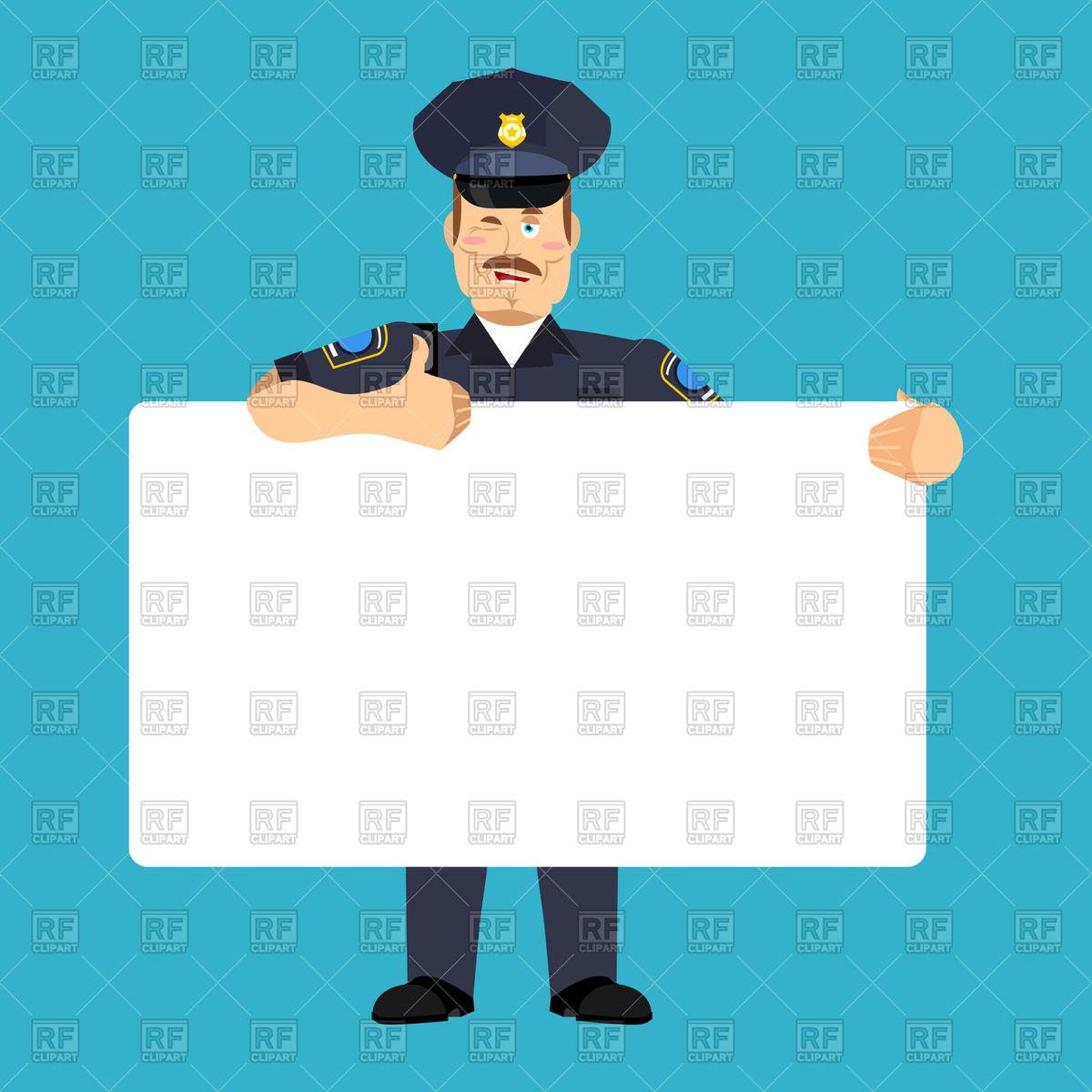 1200x1200 Policeman Holding Blank Banner