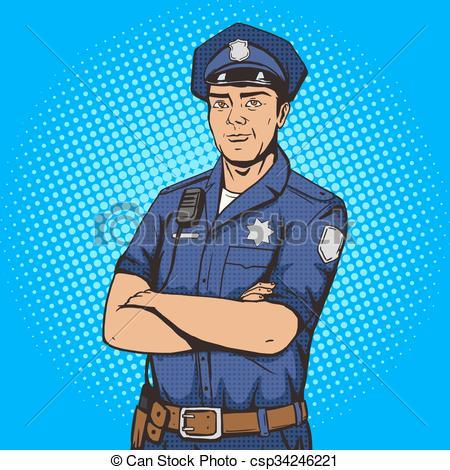 450x470 Policeman Pop Art Style Vector Illustration. Police Officer. Comic