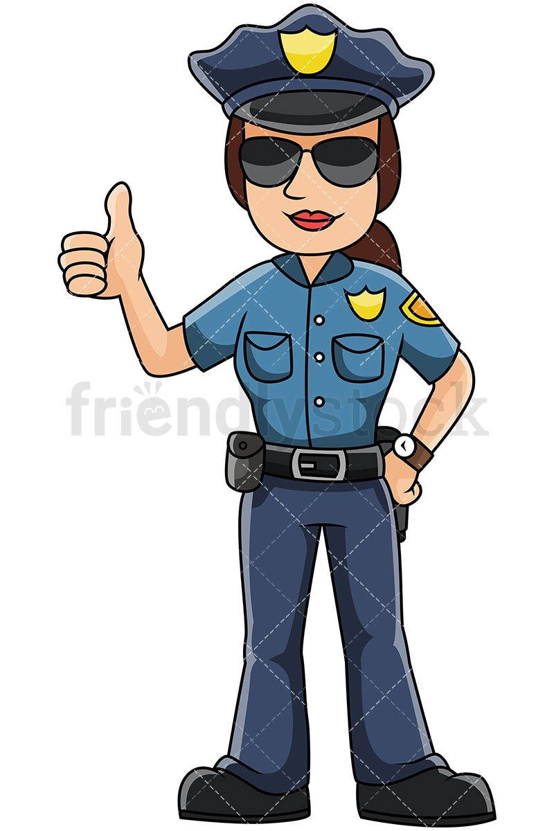800x1200 Female Police Officer Thumbs Up Vector Cartoon Clipart What I