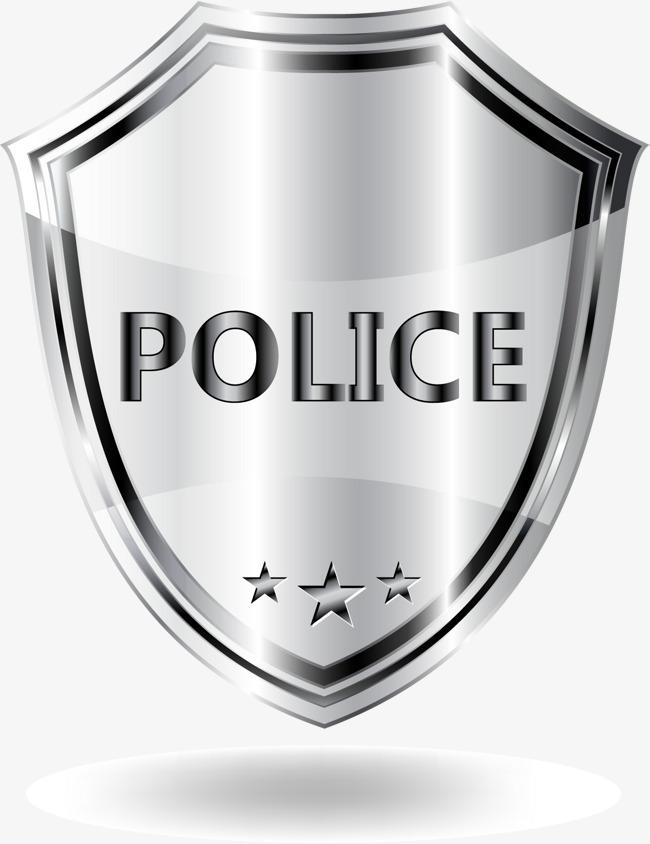 650x844 Gray Metal Texture Shield, Vector Material, Police Badge, Silver