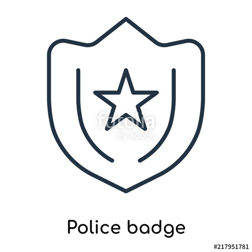 500x500 Police Badge Icon Vector Isolated On White Background, Police