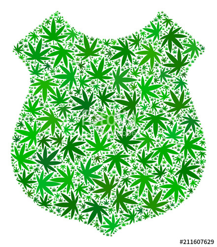 441x500 Police Shield Collage Of Hemp Leaves In Different Sizes And Green