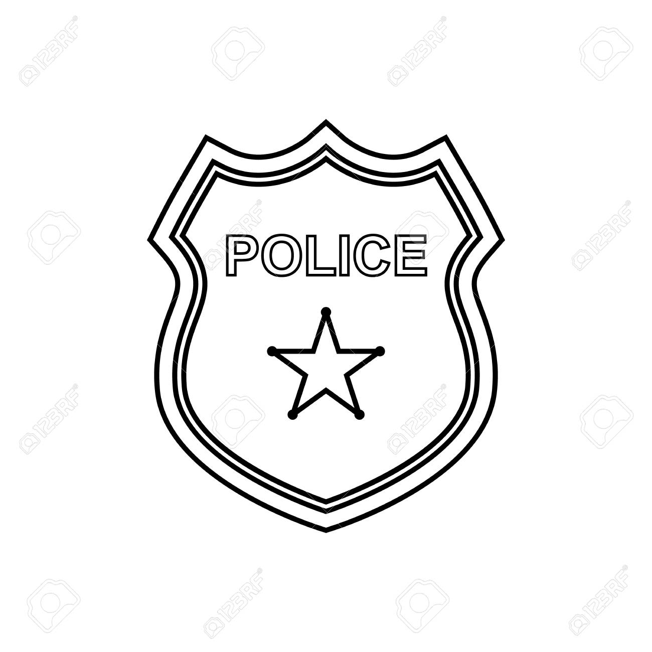 1300x1300 Proven Police Badge Outline Shield Icon Style Royalty Free Vector