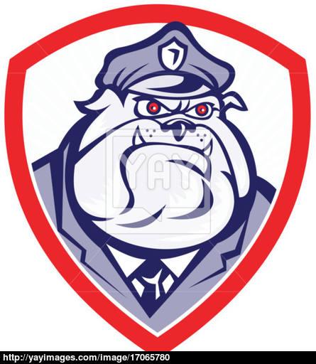 445x512 Cartoon Police Dog Watchdog Bulldog Shield Vector