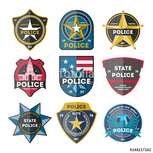500x500 Police Department Badge Set Isolated On White Background Vector