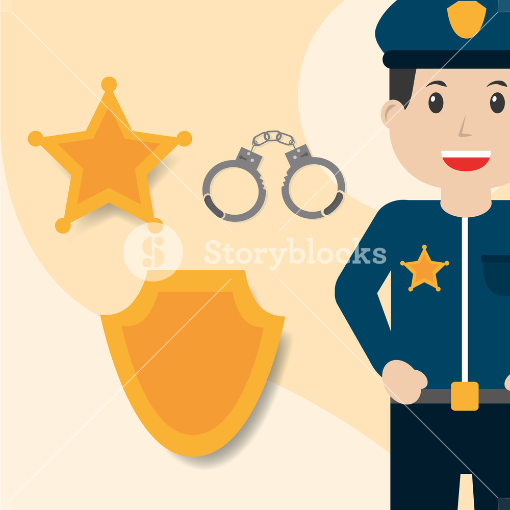 1000x1000 Police Officer Handcuffs Badge And Star Insignia Vector