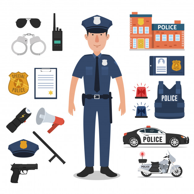 626x626 Police Officer With Police Professional Equipments Vector