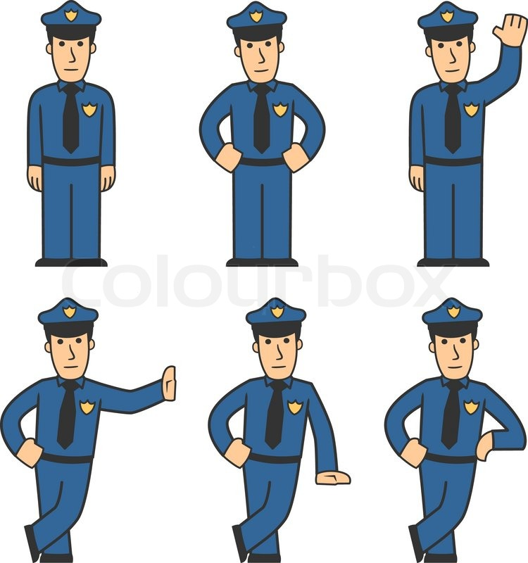 750x800 Set Of Policeman In Different Poses On White Background Stock