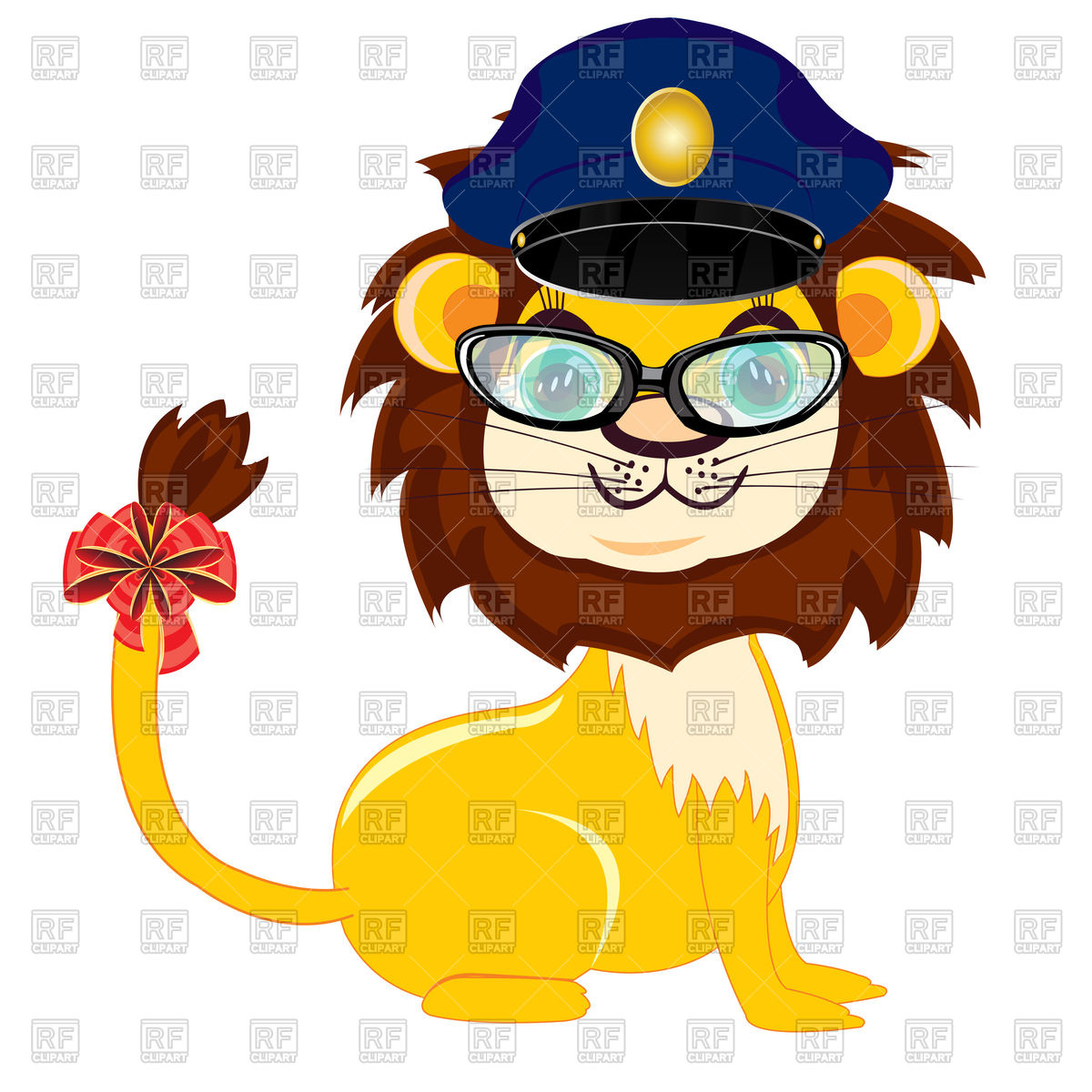 1200x1200 Cartoon Lion In Police Peaked Cap And Glasses Vector Image