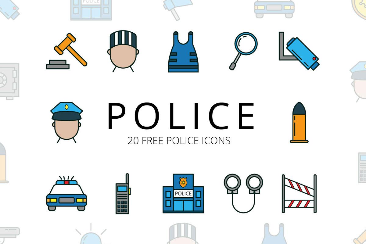 1200x800 Free Police Vector Icon Set