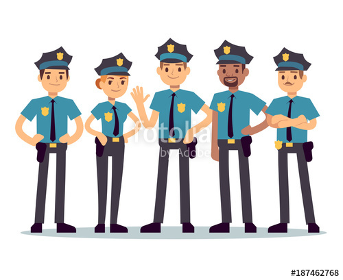 500x409 Group Of Police Officers. Woman And Man Cops Vector Characters