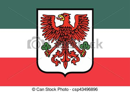 450x319 Flag Of Gorzow Wielkopolski With Coat Of Arms, Poland. Vector Format.