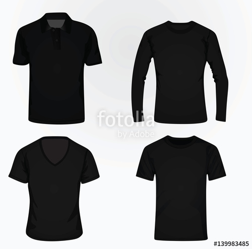 500x494 T Shirt Set Polo, V Neck, Classic And Long Sleeve Vector Stock