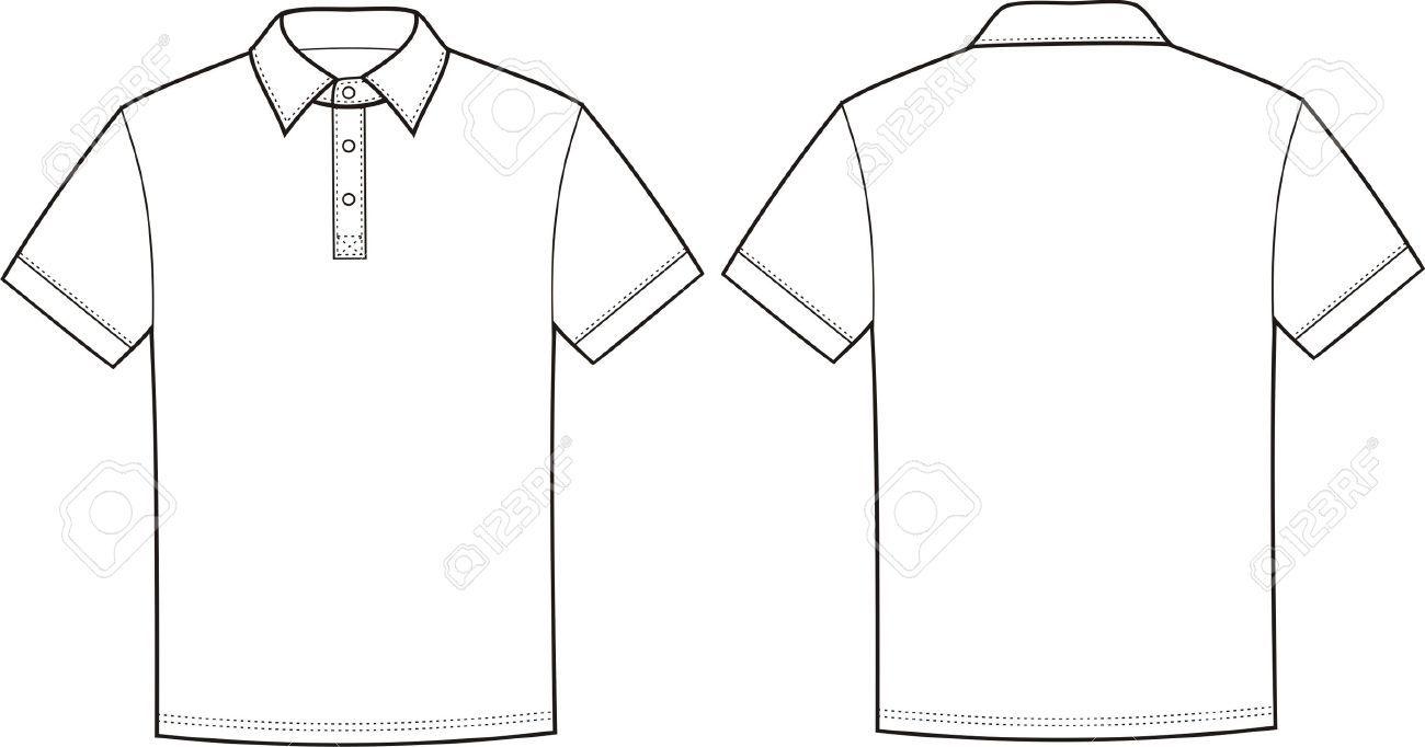 1300x682 Del Vector De La Camiseta Del Polo Frontal Y Trasera
