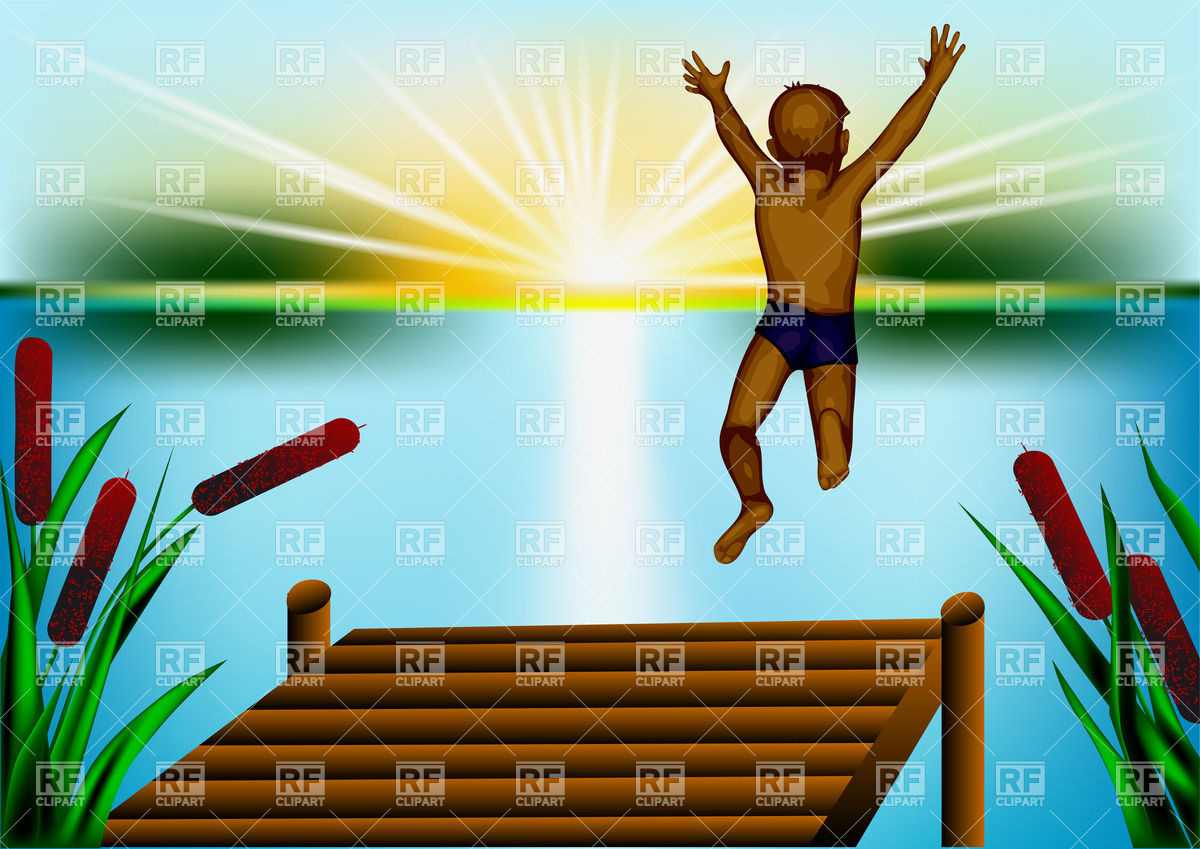 1200x849 Boy Jumping In Blue Pond Vector Image Vector Artwork Of People