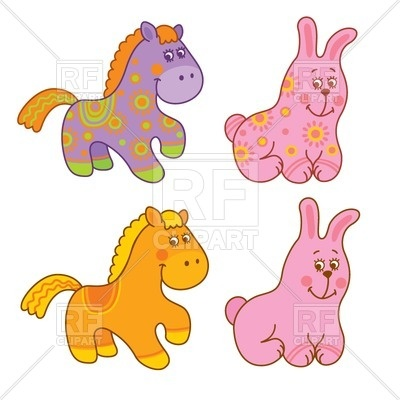 400x400 Pink Cartoon Cute Bunny And Funny Pony Vector Image Vector