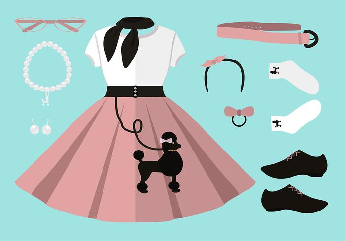 700x490 50s Poodle Skirt Outfit Set Free Vector