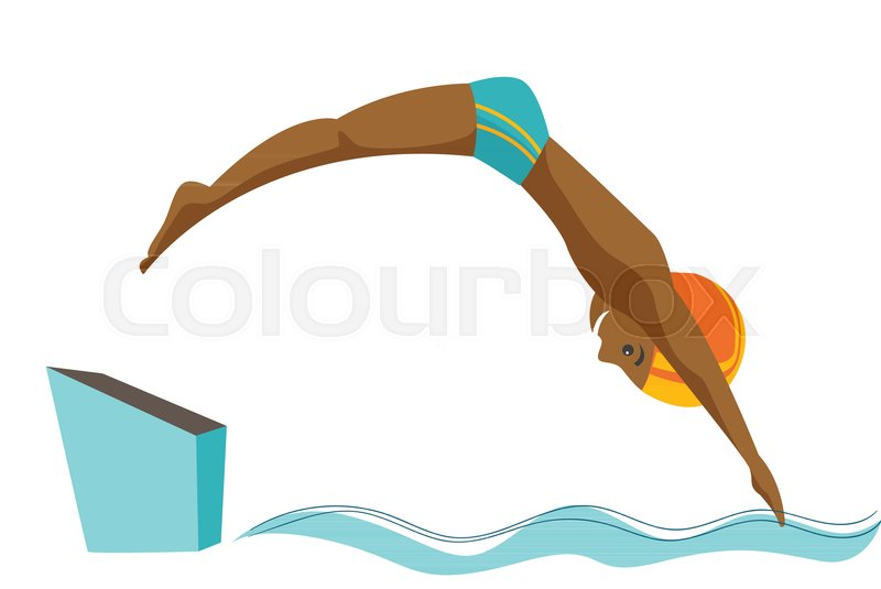 800x535 Young Black Sportsman Jumping In The Swimming Pool. Professional