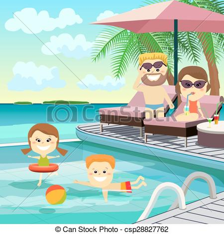 450x470 Family Weekend. Family On Holiday Around The Pool. Family Weekend