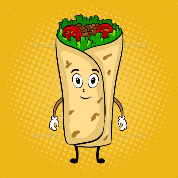 590x590 Burrito Cartoon Pop Art Vector Illustration By Alexanderpokusay