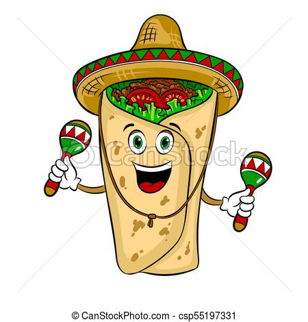 450x470 Burrito And Maraca Pop Art Vector Illustration. Burrito In Mexican