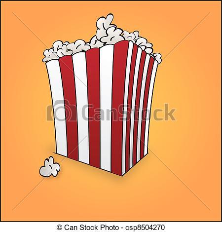 450x470 Popcorn. A Simple Vector Design Of A Box Of Popcorn.