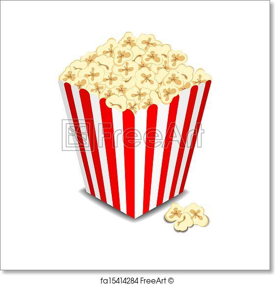561x581 Free Art Print Of Box With Popcorn, Vector . Box With Popcorn