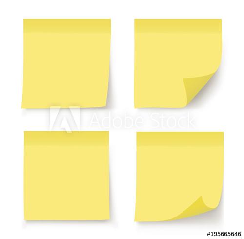 500x489 Post Note Sticker. Paper Sticker On White Background. Vector