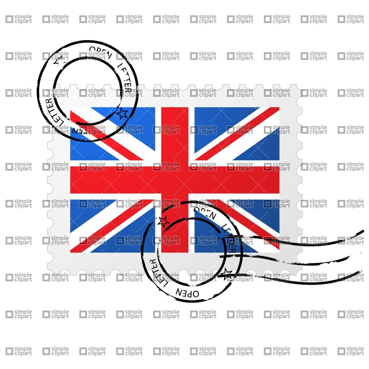1200x1200 Postmark With Great Britain Flag And Postage Stamp Vector Image