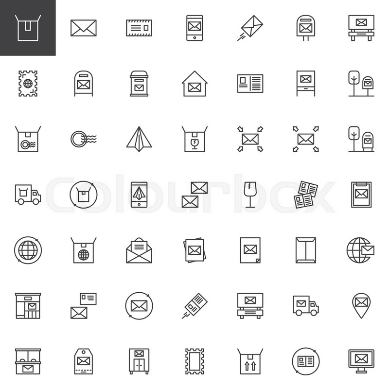 800x800 Post Outline Icons Set. Linear Style Symbols Collection, Line