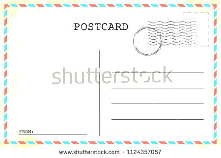 450x322 Postcard Template Old Vintage Retro Envelope With Stamp Vector