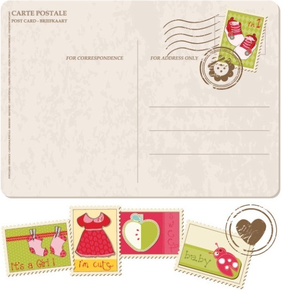 570x586 Postcards Stamps With Cartoon 01 Vector Free Vector In