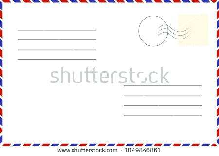 450x320 Vintage Postcard Old Template Retro Airmail Envelope With Stamp