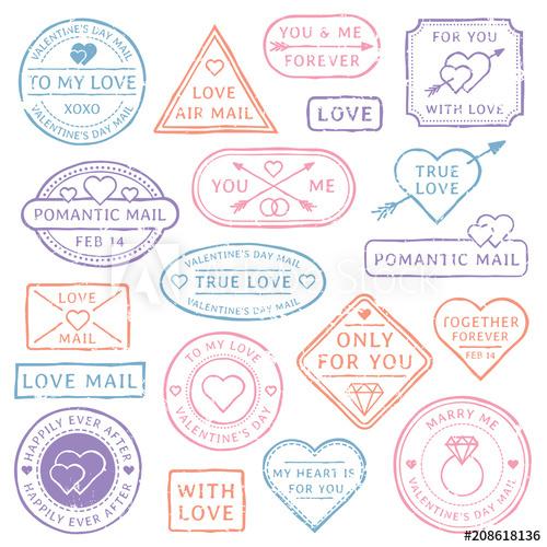 500x500 Vintage Love Letter Postcard, Valentines Day Postmarks. Stamps