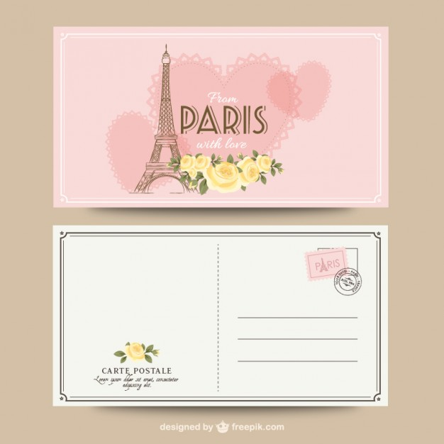 626x626 Paris Romantic Postcard Vector Free Download