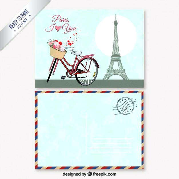 626x626 Retro Postcard Vector Premium Download Paris Template Free