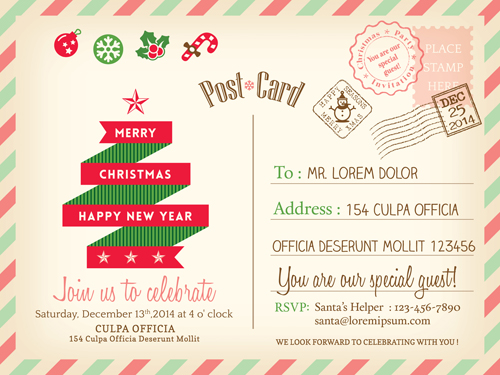 500x375 Retro Christmas Postcard Vector Template 01 Free Download